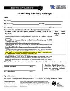 4-H Country Ham Project Contract.