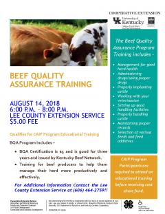 Beef Quality Assurance Training Flyer.