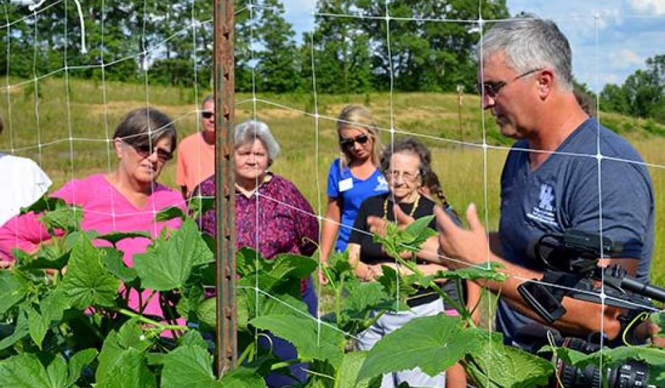 Participants learn about raised bed gardening.